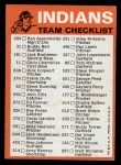 1973 Topps Blue Checklist   Indians Back Thumbnail