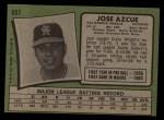 1971 Topps #657  Joe Azcue  Back Thumbnail