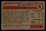 1954 Bowman #28 ERR Jim Greengrass  Back Thumbnail