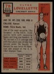 1957 Topps #78  Clyde Lovellette  Back Thumbnail