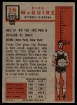 1957 Topps #16  Dick McGuire  Back Thumbnail
