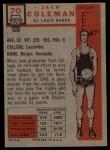 1957 Topps #70  Jack Coleman  Back Thumbnail