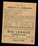 1938 Goudey Heads Up #246 BAL Ernie Lombardi  Back Thumbnail