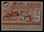 1958 Topps #181  Willie Jones  Back Thumbnail