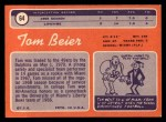 1970 Topps #64  Tom Beier  Back Thumbnail