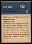 1962 Fleer #17  Ken Rice  Back Thumbnail