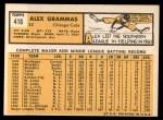 1963 Topps #416  Alex Grammas  Back Thumbnail