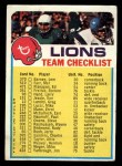 1973 Topps  Checklist   Lions Front Thumbnail