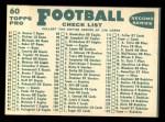 1960 Topps #60   Packers Team Checklist Back Thumbnail