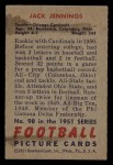 1951 Bowman #98  Jack Jennings  Back Thumbnail