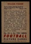 1951 Bowman #65  William Fischer  Back Thumbnail