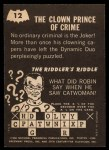 1966 Topps Batman -  Riddler Back #12   The Clown Prince Of Back Thumbnail