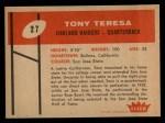 1960 Fleer #27  Tony Teresa  Back Thumbnail
