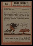 1962 Topps #172  Bob Toneff  Back Thumbnail