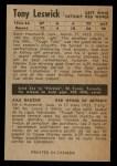 1954 Parkhurst #45  Tony Leswick  Back Thumbnail