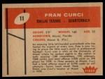 1960 Fleer #11  Fran Curci  Back Thumbnail