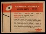 1960 Fleer #12  George Shirkey  Back Thumbnail
