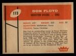 1960 Fleer #113  Don Floyd  Back Thumbnail