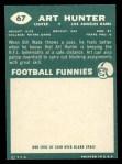 1960 Topps #67  Art Hunter  Back Thumbnail