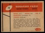1960 Fleer #15  Serafino Fazio  Back Thumbnail