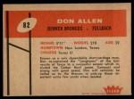 1960 Fleer #82  Don Allen  Back Thumbnail