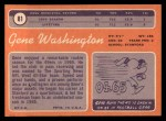 1970 Topps #81  Gene Washington  Back Thumbnail