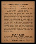 1940 Play Ball #56  Ed Miller  Back Thumbnail