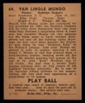 1940 Play Ball #64  Van Mungo   Back Thumbnail