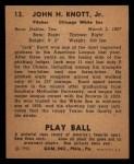 1940 Play Ball #13  Jack Knott  Back Thumbnail