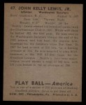 1939 Play Ball #47  Buddy Lewis  Back Thumbnail
