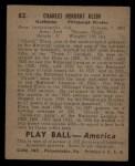 1939 Play Ball #82  Chuck Klein  Back Thumbnail