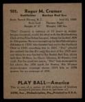 1939 Play Ball #101  Doc Cramer  Back Thumbnail