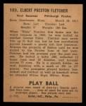 1940 Play Ball #103  Elbie Fletcher  Back Thumbnail