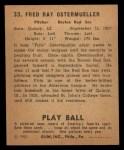 1940 Play Ball #33  Fritz Ostermueller  Back Thumbnail