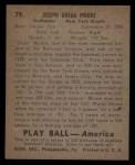 1939 Play Ball #79  Joe Moore  Back Thumbnail