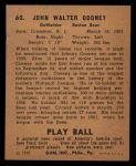 1940 Play Ball #60  John Cooney  Back Thumbnail