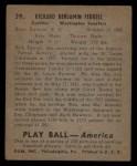 1939 Play Ball #39  Rick Ferrell  Back Thumbnail
