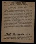 1939 Play Ball #96  Babe Phelps  Back Thumbnail