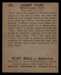 1939 Play Ball #106  Dolly Stark  Back Thumbnail
