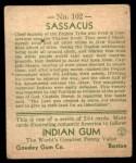 1933 Goudey Indian Gum #102   Sassacus  Back Thumbnail