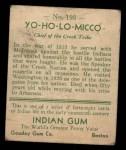 1933 Goudey Indian Gum #193  Yo-Ho-Lo-Micco   Back Thumbnail