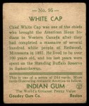 1933 Goudey Indian Gum #95   White Cap  Back Thumbnail