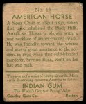 1933 Goudey Indian Gum #43  American Horse   Back Thumbnail