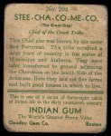 1933 Goudey Indian Gum #204  Stee-Cha-Co-Me-Co   Back Thumbnail