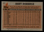1983 Topps #611  Bert Roberge  Back Thumbnail