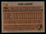 1983 Topps #325  Von Hayes  Back Thumbnail