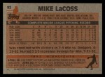 1983 Topps #92  Mike LaCoss  Back Thumbnail