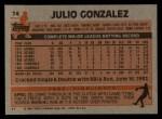 1983 Topps #74  Julio Gonzalez  Back Thumbnail