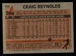1983 Topps #328  Craig Reynolds  Back Thumbnail