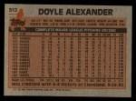 1983 Topps #512  Doyle Alexander  Back Thumbnail